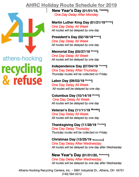 2019 Holiday Trash/Recycling Schedule