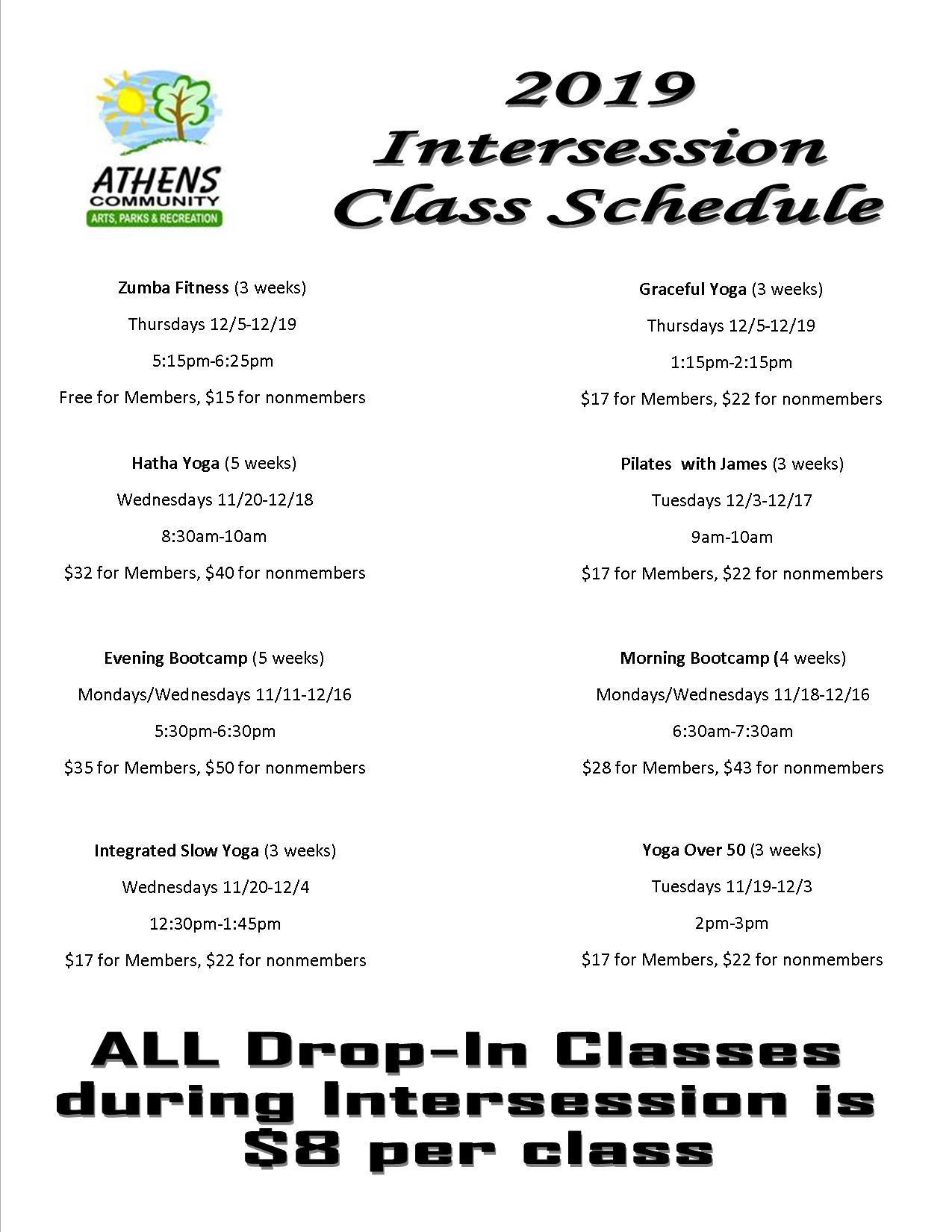 Intercession Fitness Classes Updated