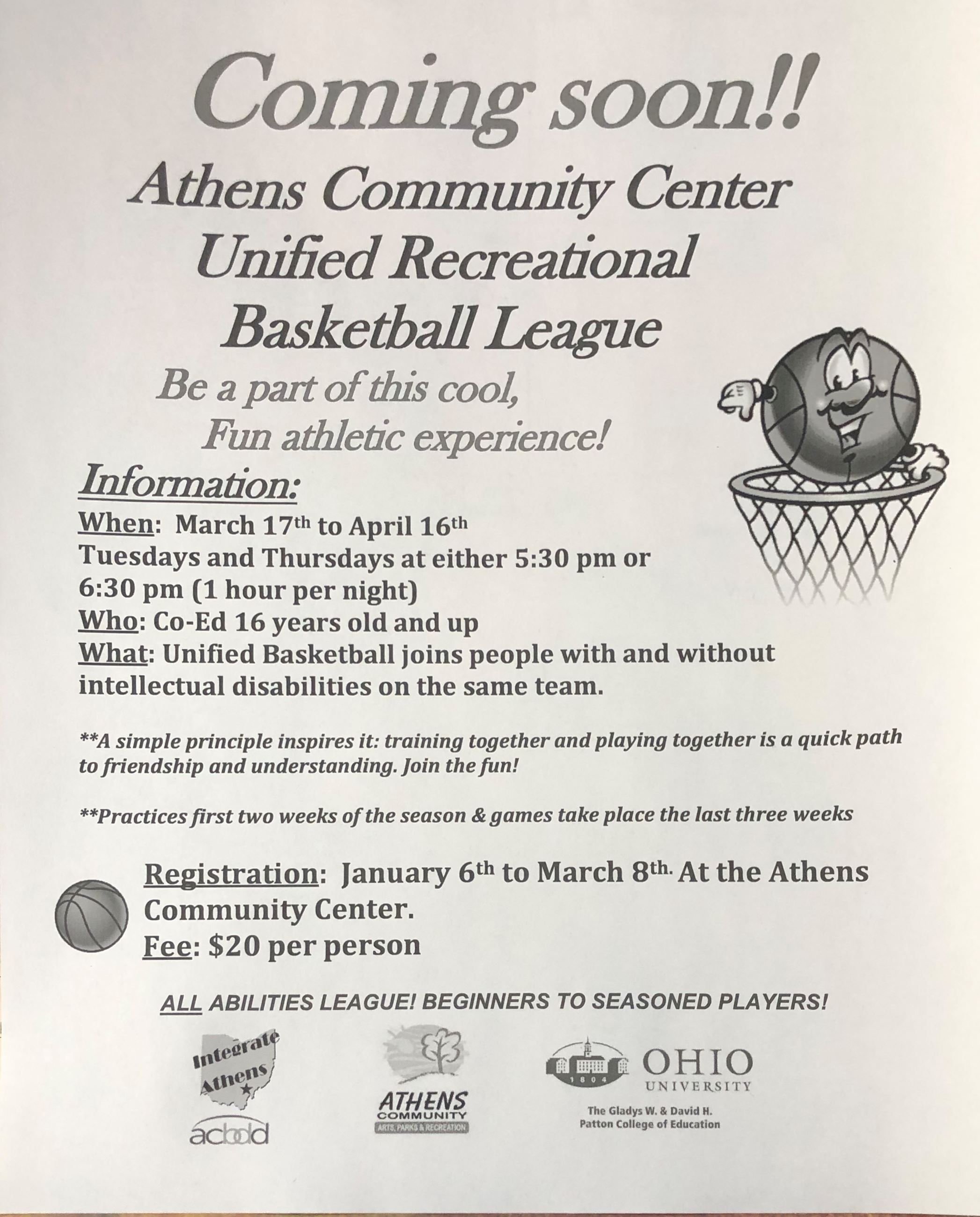 Unified Rec Basketball Flyer.